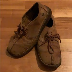 Born Brown Leather tie up moccasins size 8 1/2 men
